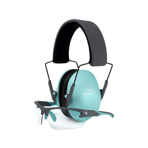 Ladies Lowset Passive Earmuffs/ Eye Protection Aqua